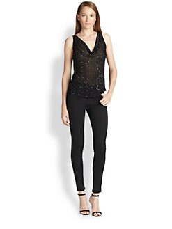 Alice + Olivia - Lucy Embellished Silk Trapeze Top