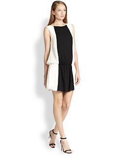 Alice + Olivia - Bristol Stretch Silk Cutout-Back Two-Tone Dress