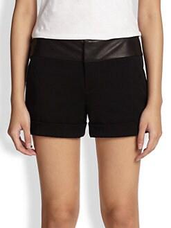 Alice + Olivia - Leather-Waistband Cuff Shorts