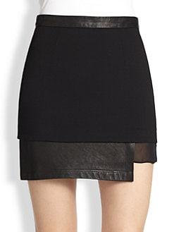 Alice + Olivia - Andra Leather & Silk-Trimmed Mini Skirt
