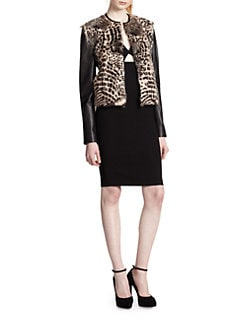 Alice + Olivia - Trix Cropped Leather-Trimmed Fur Jacket
