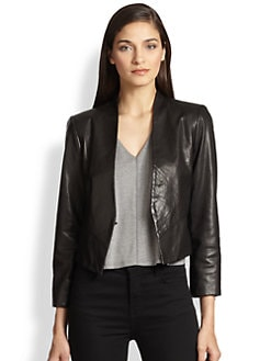 Alice + Olivia - Amaya Cropped Leather Blazer