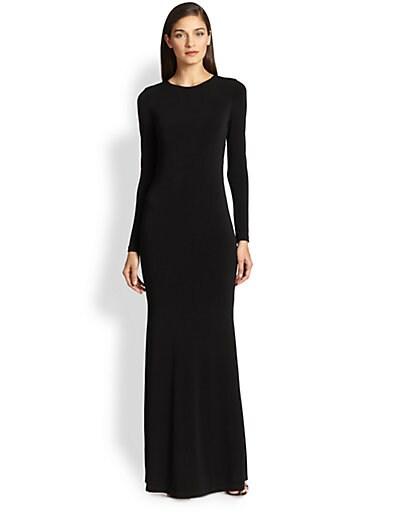 Leather-Trim Maxi Dress