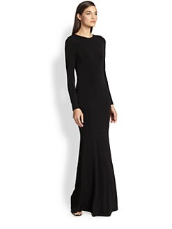 Alice + Olivia - Leather-Trim Maxi Dress