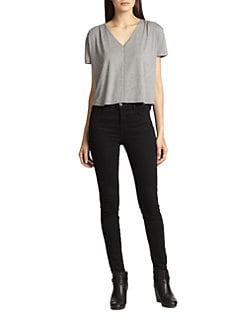 Alice + Olivia - Deep V-Neck Circle Tee