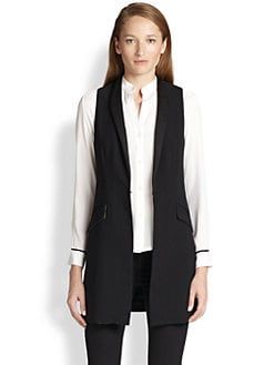 Alice + Olivia - Long Satin-Trim Vest
