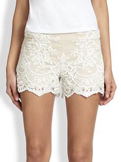 Alice + Olivia - High-Waisted Lace Shorts