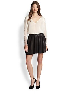 Alice + Olivia - Lace Paneled Silk Tunic