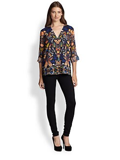 Alice + Olivia - Rolled Sleeve Butterfly Blouse