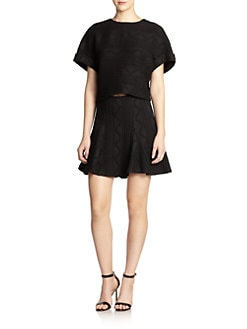 Alice + Olivia - Ida Leather Trim Rolled Sleeve Top