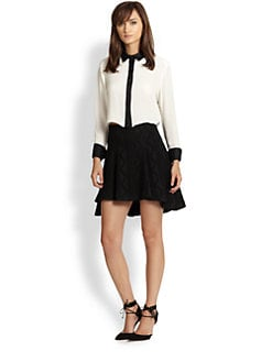 Alice + Olivia - Rita Silk Cropped Shirt