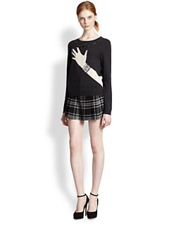 Alice + Olivia - Hand & Ring Embellished Wool-Blend Sweater