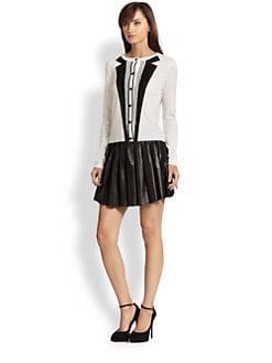 Alice + Olivia - Silk-Paneled Tuxedo-Print Wool Cardigan