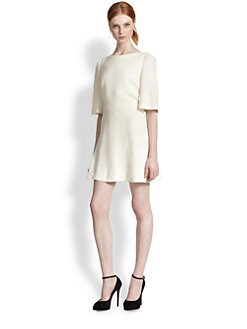 Alice + Olivia - Maely Bell Sleeve Leather-Trimmed Dress