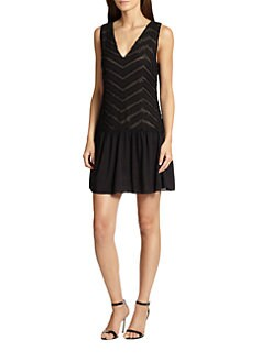 Alice + Olivia - Lyla Silk Beaded Chevron Dress
