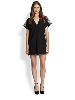 Alice + Olivia - Lace Shoulder Shift Dress