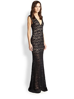 Alice + Olivia - Mia Deep V-Back Lace Gown