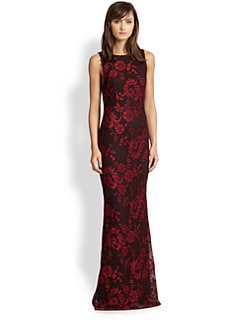 Alice + Olivia - Veda Cutout-Back Lace Gown