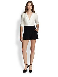 Alice + Olivia - Pilca Wrapped Collar Short Jumpsuit