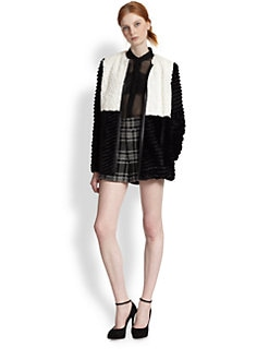 Alice + Olivia - Pali Colorblock Faux Fur Jacket