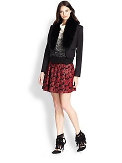 Alice + Olivia - Ridley Fox Fur-Trimmed Cropped Blazer