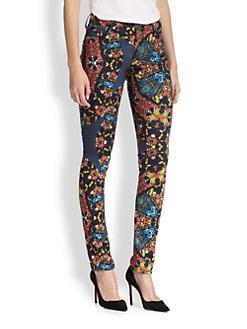 Alice + Olivia - Jewel-Print Skinny Jeans