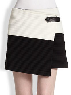 Alice + Olivia - Lennon Crossover Leather-Trimmed Skirt