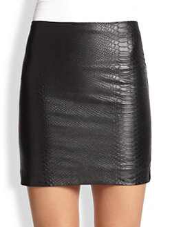 Alice + Olivia - Neville Embossed Leather Mini Skirt