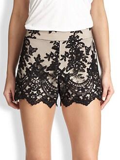 Alice + Olivia - High-Waist Lace Shorts