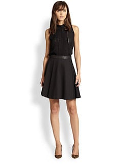 Alice + Olivia - Leather-Trimmed Flared Skirt