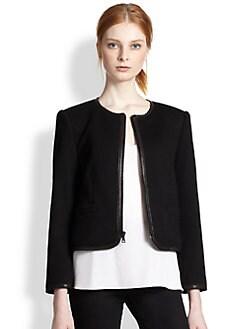 Alice + Olivia - Boxy Leather-Trimmed Jacket