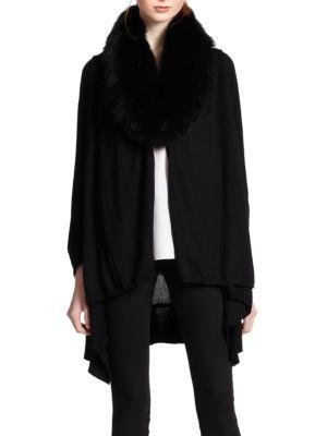 Izzy Fur-Collar Cascade Cardigan