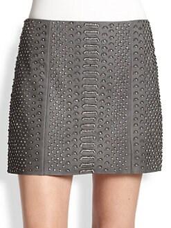 Alice + Olivia - Embellished & Embossed Leather Mini Skirt