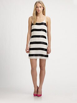 Alice + Olivia - Striped & Beaded Silk Dress