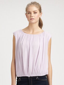 Alice + Olivia - Shirred Silk Top