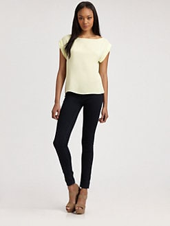 Alice + Olivia - Stretch Silk Boatneck Top