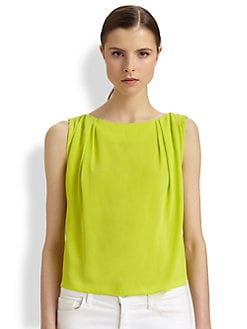 Alice + Olivia - Gladys Pleated Silk Top