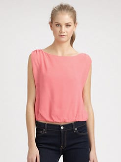 Alice + Olivia - Elana Gathered Silk Top