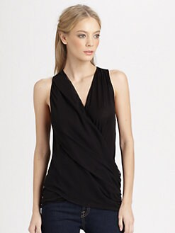 Alice + Olivia - Wrap Front Drape Top