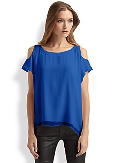 Alice + Olivia - Open-Shoulder Silk Top