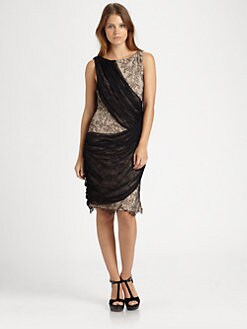 Alice + Olivia - Reika One-Shoulder Draped Dress