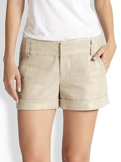 Alice + Olivia - Cady Cuff Metallic Shorts