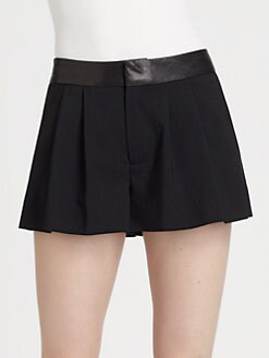 Alice + Olivia - Leather-Waist Flutter Shorts
