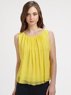 Alice + Olivia - Sleeveless Silk Drape Tank