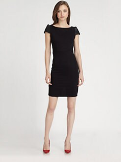 Alice + Olivia - Gracie Leather-Sleeve Dress