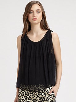 Alice + Olivia - Leather Trim Drape Tank