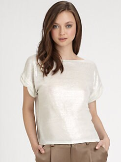 Alice + Olivia - Rolled-Sleeve Linen Top