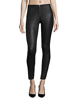Alice + Olivia - Front-Zip Leather Legging