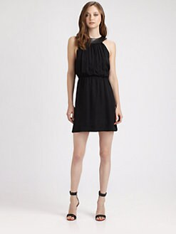 Alice + Olivia - Ayla Silk and Leather U-Neck Dress