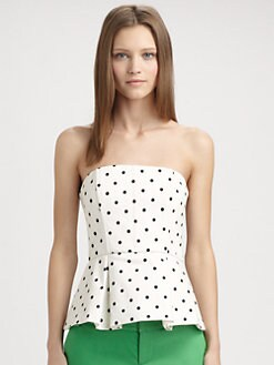Alice + Olivia - Strapless Peplum Top